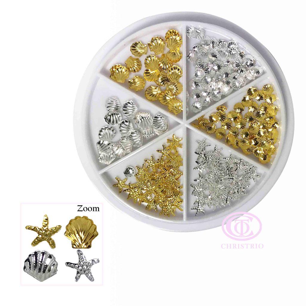 Ocean Theme Nail Art Charm (Gold & Silver)