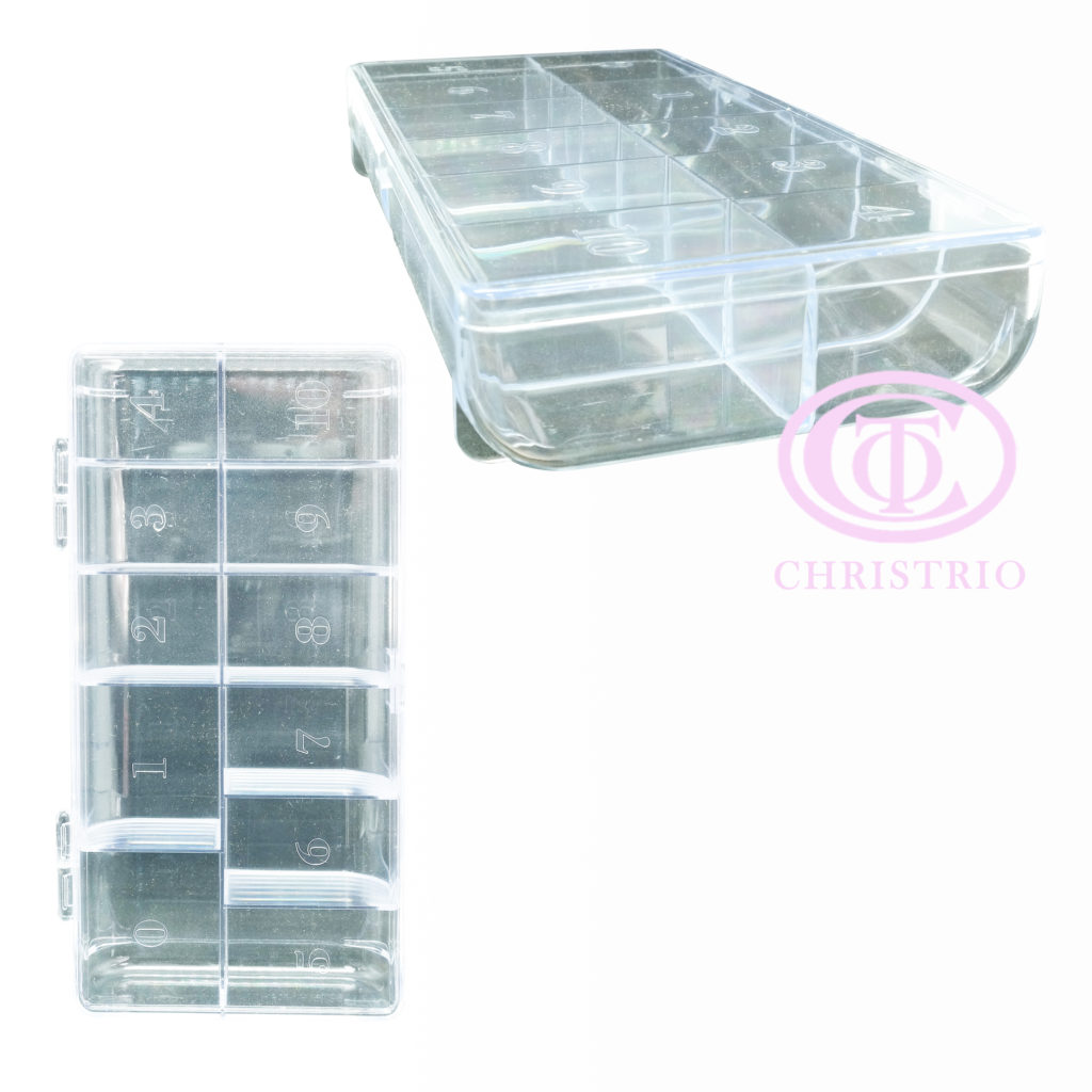 Plastic Tip box with numbers – box na nehtové tipy ( Clear)