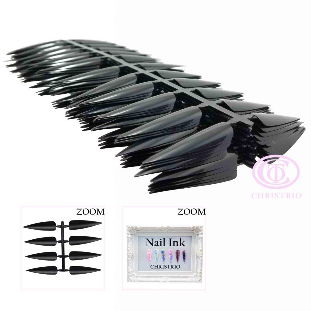 CTO Nail Art tip long 1size black 1pack/10pcs – Vzorníky na nehty