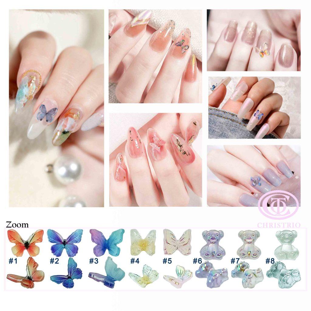 Butterfly and Bear 3d nail art design