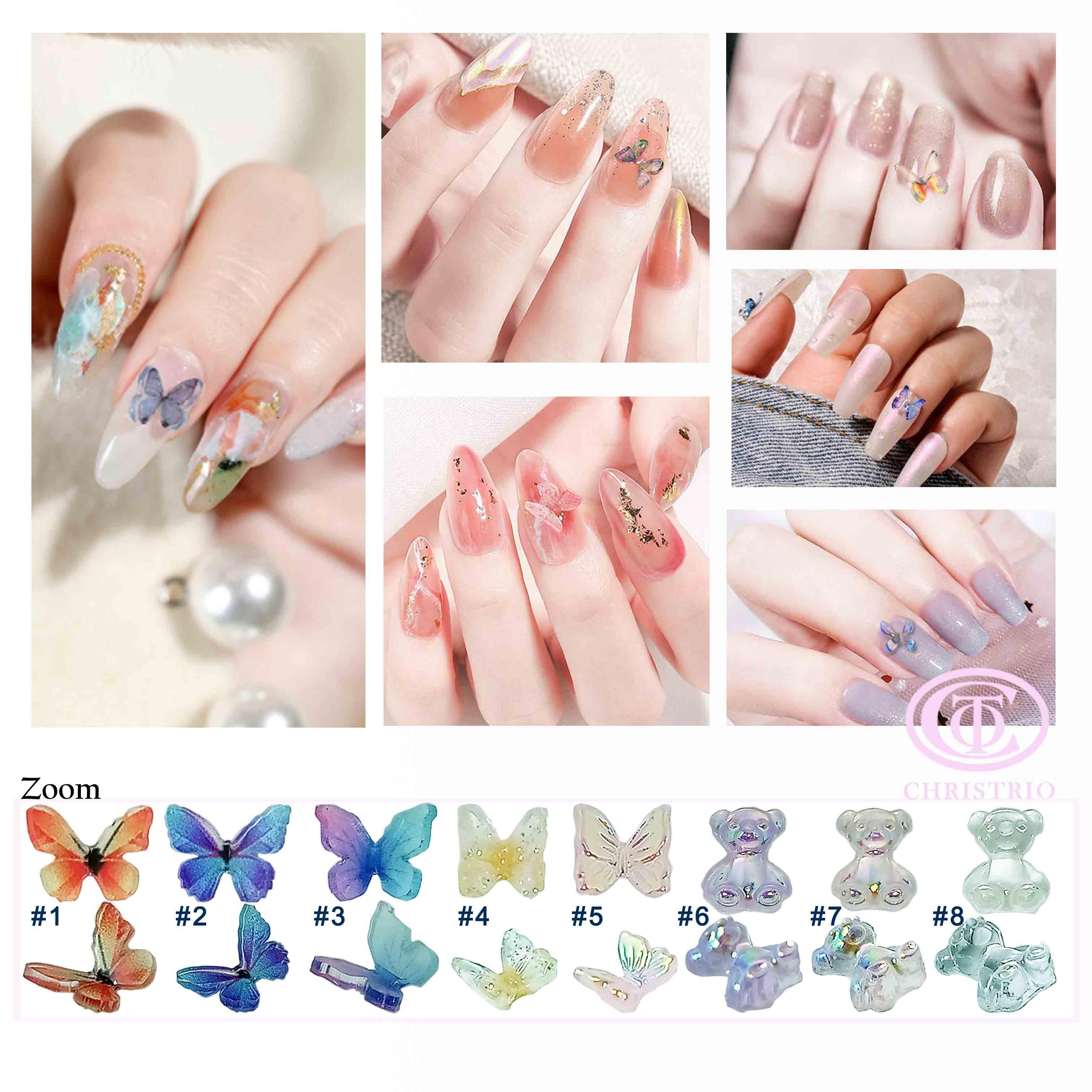 butterfly 3d nail art design