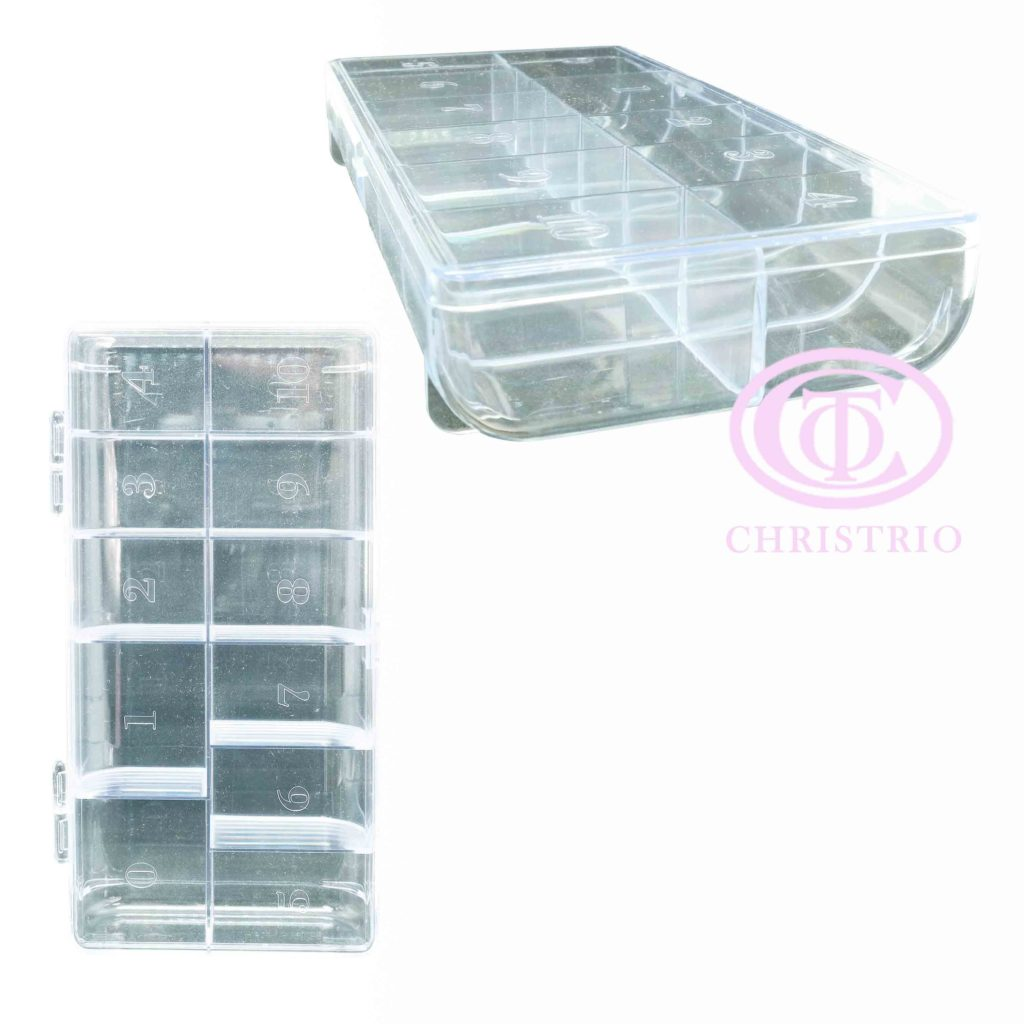 Plastic Tip box without numbers – box na nehtové tipy (Clear)