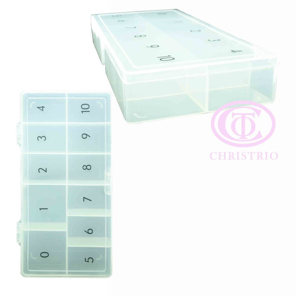Plastic Tip box with numbers – box na nehtové tipy (White opaque)
