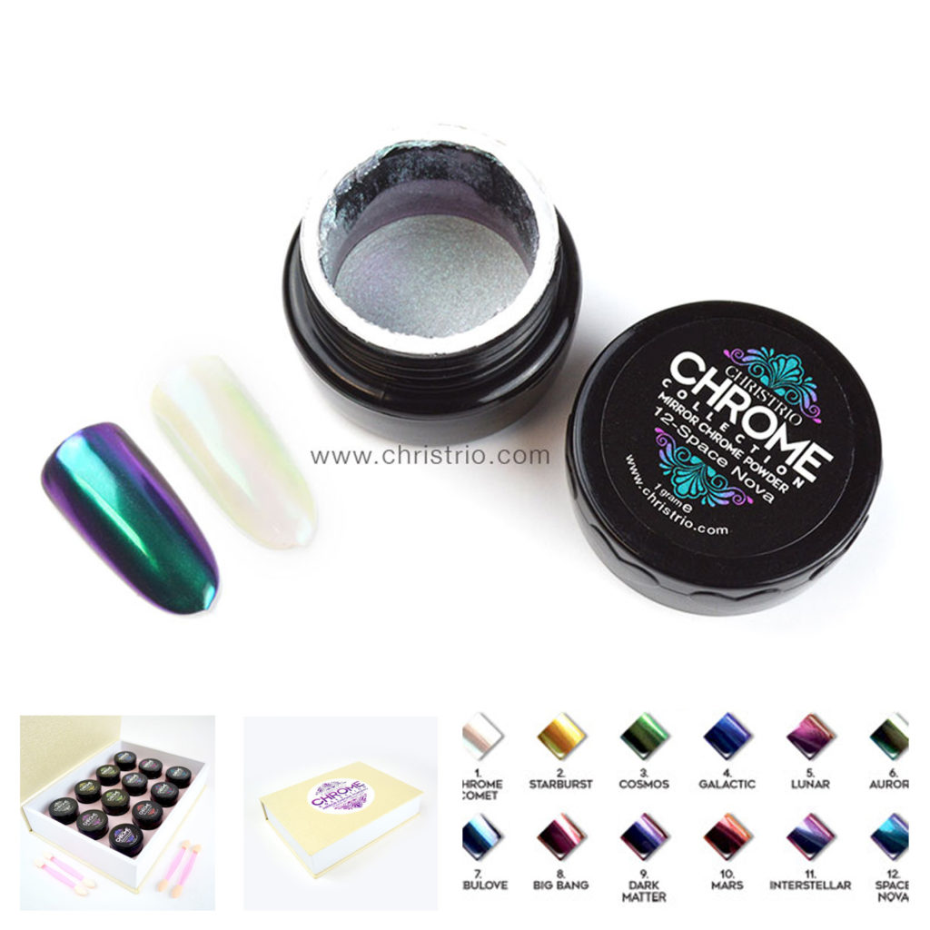CHRISTRIO CHROME colours pack 12pcs – Zdobení na nehty