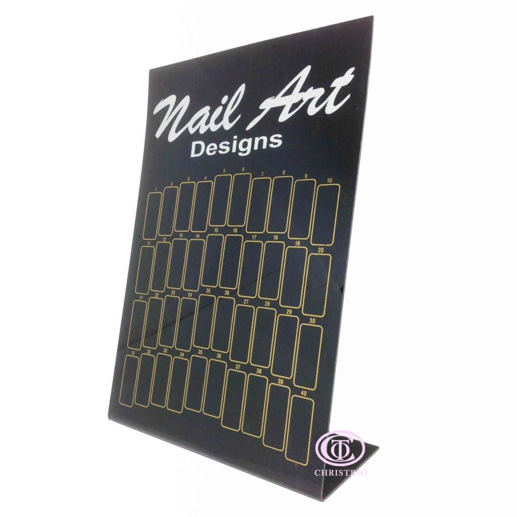 Nail Art Designs display S black –  Vzorník na nehty